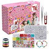 DIY Letter Beads for Jewelry Making Set, Colorful Charms, Alphabet Beads, Elastic String and Accessories, Custom Necklaces, Friendship Letter Beads for Bracelets, Arts and Crafts, and Decorations