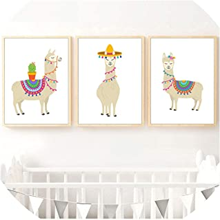 Be fearless Cartoon Llama Cactus Nursery Art Prints Wall Art Canvas Painting Nordic Posters and Prints Wall Pictures Baby Kids Room Decor,20X25 cm No Framed,3 PCS