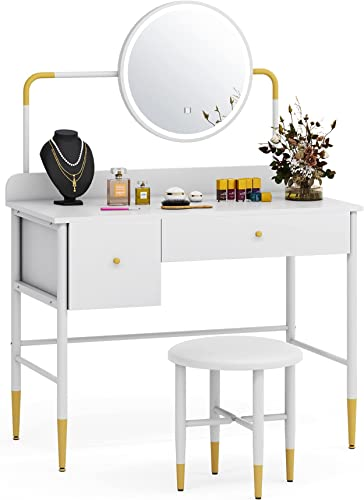 popular Tribesigns Vanity Table Set with Lighted Mirror, Modern Elegant Makeup Dressing high quality Table with 3 Color Touch Screen Dimming Mirror, Vanity lowest Dresser Desk with 2 Drawers and Cushioned Stool for Bedroom online