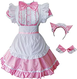GRACIN Women's Cat Ear French Maid Costume with Apron, 5 Pieces Fancy Dress for Halloween Cosplay