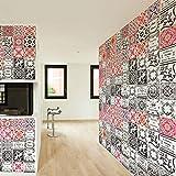 Walplus Extraíble Autoadhesivo Arte Mural Adhesivos Vinilo Decoración Hogar Bricolaje Living Cocina Dormitorio Decor Papel Pintado Marroquí Rojas y Marrones Azulejo de Mosaico Pared 48 Piezas 15cm X