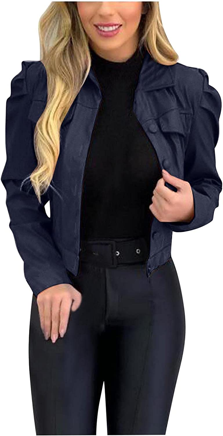Women Faux Leather Bomber Jacket Casual Fashion Solid Color Outerwear Lapel Slim Stretchy Short Jacket