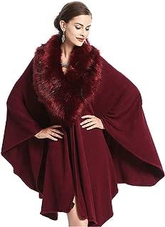 Women Faux Fur Coat Wedding Cloak Batwing Poncho Winter Evening Prom Cape