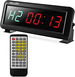 Pellor High Fitness Training Timer Remote Control Gym Indoor Interval Timer Clock for Tabata, EMOM, MMA