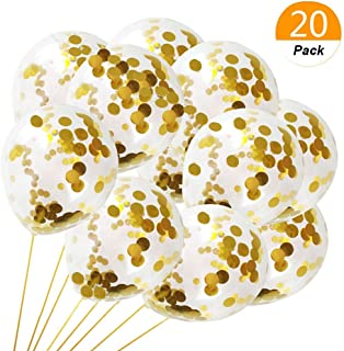12 Inches Gold Confetti Balloons,20 Pack Latex Balloons for Birthday Party/ Holiday Party/ Wedding Decorations