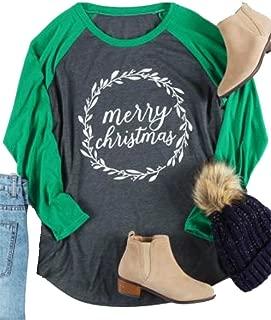 Plus Size Merry Christmas Baseball T-Shirt Women 3/4 Sleeve Holiday Splicing Tee Tops