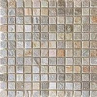 ストーンモザイク 自然石 ユニットストーン デザートゴールド 22mm角 1シート