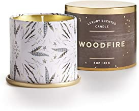 Illume Noble Holiday Collection Woodfire Demi Vanity Tin, 3 oz Candle