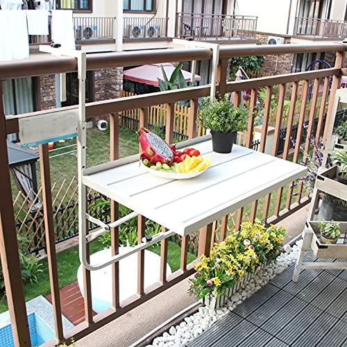 Balcón Plegable Balcón Barandilla Mesa Colgante, Escritorio Pequeño de Hierro, Estante Plegable...