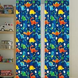 1. Sapphire Home Dinosaurs Design Print Kids Window Curtain Panels with tiebacks
