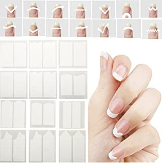 Kentop Nail Art Stencils French Tip Guides Stickers Form Fringe Guides Vinyl Waterproof Design, 24 Sheets