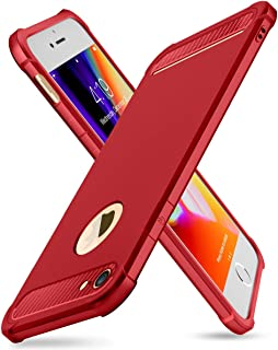 iPhone 7/8 Case with Card Holder and[ Screen Protector Tempered Glass x2Pack] SUPBEC Heavy Duty Shockproof Anti-Scratch Rubber Silicone Wallet Case for iPhone7 /8 4.7 inch -Red