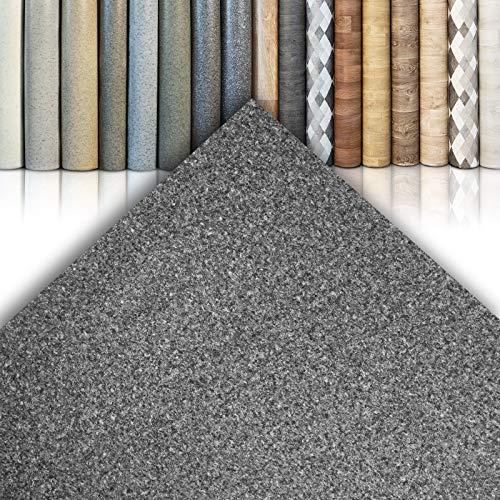 CV Bodenbelag Venezia I05 - extra abriebfester PVC Bodenbelag (geschäumt) - Basalt Dunkelgrau - edle Steinoptik - Oberfläche strukturiert - Meterware (200x300 cm)