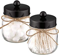 Elwiya 2-Pack Mason Jar Qtip Holder Premium Glass with Stainless Steel Lid, Rustic Mason Jar Cotton Ball/Swabs/Rounds Hold...