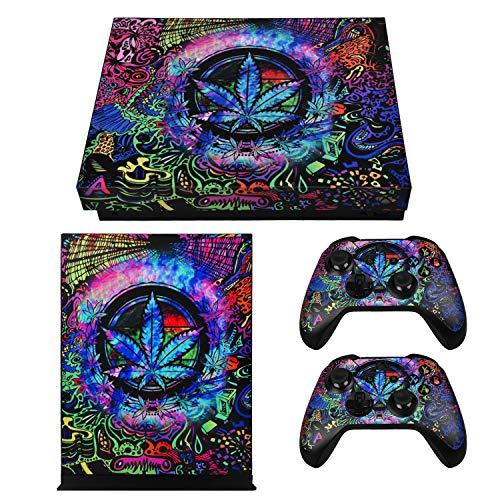 eXtremeRate Aufkleber für Xbox One X Controller Konsole,Sticker Aufkleber Skin Decal Folie Faceplates Kleberfolie für Xbox One X Konsole&2 Controller und 2 Home Knopf Decals(Cannabis)