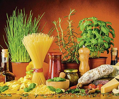Artland Qualität I Glas Küchenrückwand ESG Spritzschutz Küche 90 x 75 cm Gemüse Digitale Kunst Bunt G5TN Mediterranes und Italienisches Essen mit Nudeln Käse Wurst Kräutern und Gewürzen