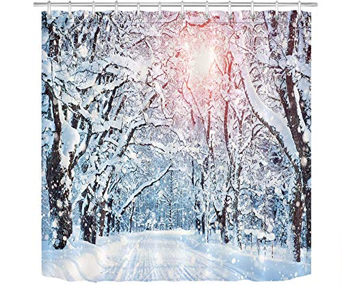 LB Winter Forest Shower Curtain Snowflakes Snow Covered Trees Pathway in Sunshine Winter Season Scenic for Christmas Holiday Shower Curtain Sets with 12 Hooks,Waterproof Fabric 72x72 Inch