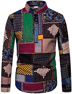 SPE969 Men's Dashiki Cardigan Jacket,Printed Men's Fashion Long Sleeve Printed Coat