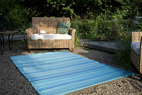 Fab Hab Reversible Outdoor/Indoor Rug | Perfect for Decking, Garden, Patio | Mold, Mildew, UV & Stain Resistant, Cancun-Turquoise & Moss Green (120 cm x 180 cm)