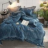 Bocotous Luxury Velvet Flannel Bedding Set, Winter Warm Fleece Embroidery Duvet Cover Bed Sheet Pillow Cases Double King Size Blue 220 * 240cm(4pcs)