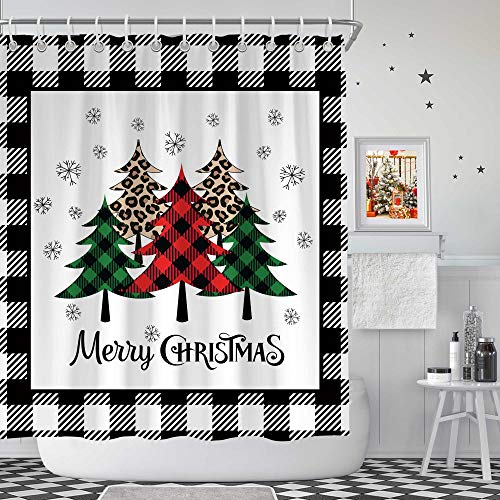 "72""X72"" Merry Christmas White Black Plaid Xmas Trees Shower Curtain Sets Cloth Fabric Waterproof Washable Farmhouse Winter Bathroom Decor with Hooks"