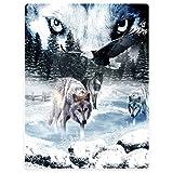 #Wolfsaugen #Wölfe #Adler #Schnee 100x125 oder 150x200 cm