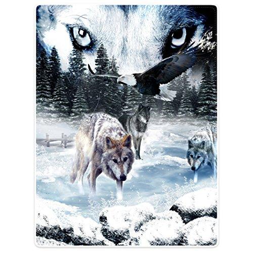 Violetpos Dick Decke Weich Wärme Gemütlich Flanell-Fleece Sofadecke Deckeldecke Wolfsaugen Wölfe Adler Pinien Schnee 150 x 200 cm