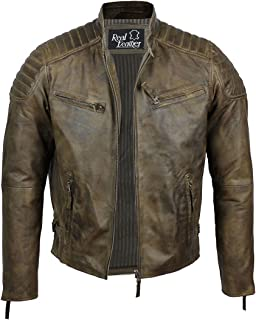 Xposed Mens Real Soft Leather Slim Fit Antique Washed Brown Urban Retro Biker Jacket