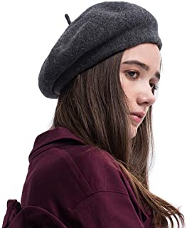 Lvaiz Woman French 100% Wool Beret Solid Color Artist Hat Womens Winter Beanie Cap Hat