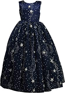 amropi Girl's Fluffy Dress Sleeveless Sparkle Star Princess Party Dresses with Crown for 4-15 Years