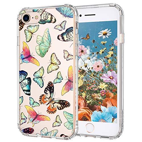 MOSNOVO Cover iPhone SE 2020/iPhone 8/iPhone 7, Farfalla Trasparente con Disegni TPU Bumper con Protettiva Custodia per iPhone 7/iPhone 8/iPhone SE 2020 (Farfalla)