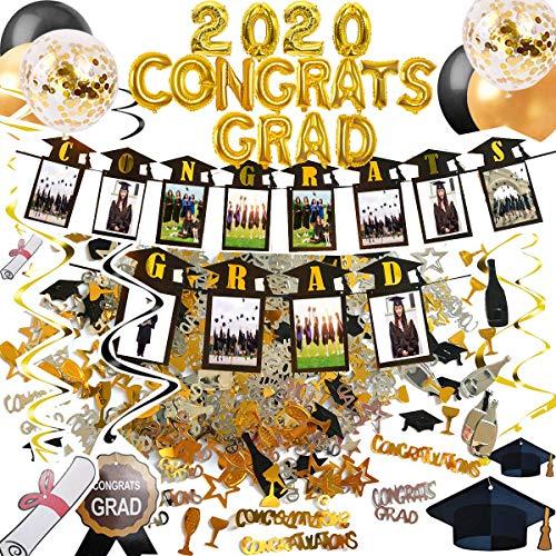 2020 Decorazioni per feste di laurea, per congratulazioni, striscione per foto, ghirlande da appendere, coriandoli, 15 palloncini dorati e neri, pompa a mano inclusa