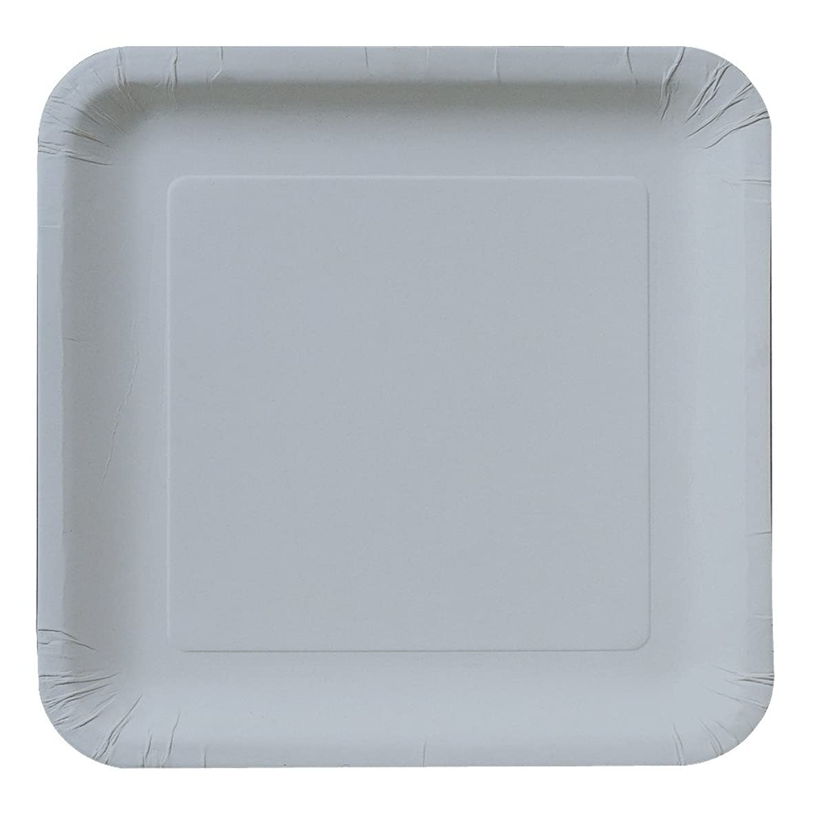 Creative Converting Touch of Color 18 Count Square Paper Lunch Plates, Shimmering Silver