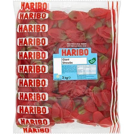 HARIBO Giant Strawbs 3kg bulk bag vegetarian sweets