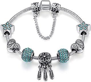 Blue Crystal Beads Dreamcatcher Pendant Silver Plated Snake Chain Charm Bracelet Valentine's Day Gift for Women 18cm