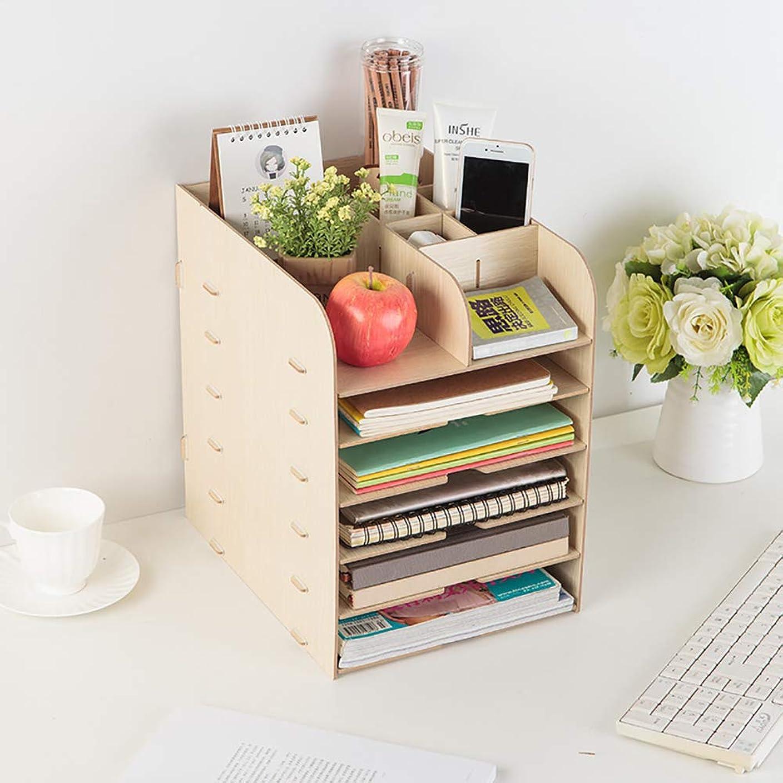 突進ボルト全滅させる木製収納オーガナイザーボックス-6段ポータブルデスクトップソーター本棚取り外し可能な収納キャビネットファイルフォルダ-本、A4用紙、レター、雑誌、文書用