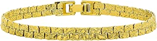 14k Yellow Gold Plated 5mm Double Row Nugget Textured Link Bracelet + Microfiber Jewelry Polishing Cloth