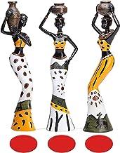 مجموعة من 3 قطع من النحتات الأفريقية، 19.05 سم، تمثال نسائي للفتيات القبائل، تمثال زينة فنية لمحبي التجميع قطعة فنية لديكو...