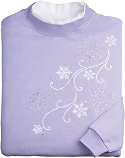 Embroidered Cascading Snowflakes Long Sleeve Crew Neck Sweatshirt – Purple and White