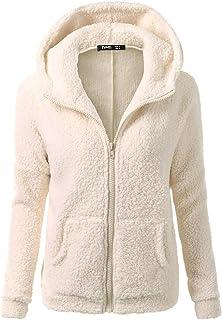 BBesty Women Fleece Hooded Jacket Winter Warm Fuzzy Shearling Fluffy Jacket Two Pockets Coat Outwear