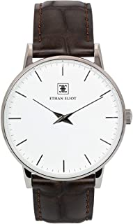 Classic Minimalist Men's Watch, Oxford 40mm Silver Watch for Men, Stainless Steel Silver Case, White Face & Genuine Dark Brown Croc-Embossed Leather Band, 5ATM Watch (EE40-SW34CDB)