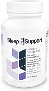 SleepSupport All Natural Sleep Aid - Promotes Calming and Relaxation - Organic Ashwagandha, Hops, Passion Flower, Valerian...