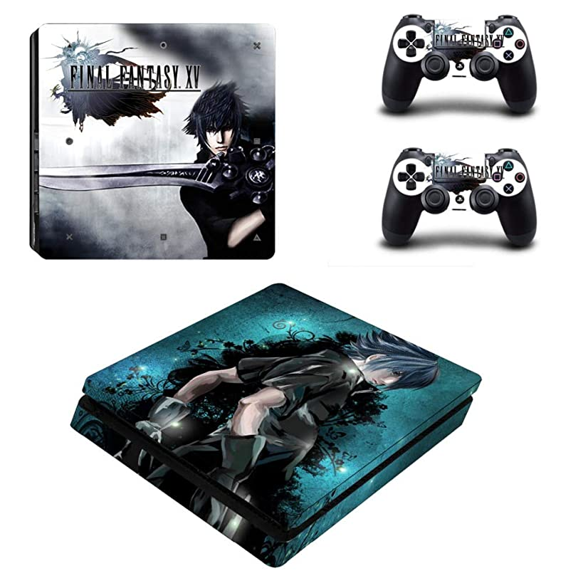 Playstation 4 Slim Skin Set - Final Fantasy XV HD Printing Vinyl Skin Cover Protective for PS4 Slim Console and 2 PS4 Controller by Mr Wonderful Skin