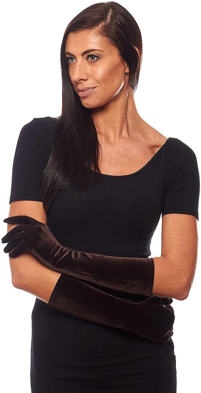 Pin Up Girl Elbow Length Stretch Velvet Gloves