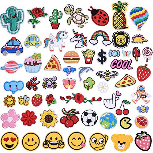 GCOA 60pcs Embroidered Patch Sew On Iron On Patches Applique Accessories Assorted Size Decoration Assorted Styles Patches Flowers Plant Animals DIY Accessory (Style1)