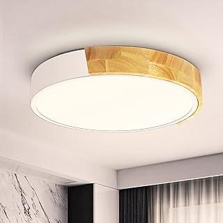 Plafonnier LED Bois 24W Ketom Plafonnier LED 4500K Blanc Neutre Moderne Éclairage de Plafond 2400LM Lampe Plafond Ø30CM Ro...