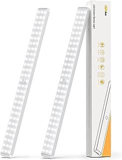 Under Cabinet Lighting, Dimmable 80-LED Closet Lights Wireless Under Counter Light 3000mAh Battery Night Safe Lights Stic...
