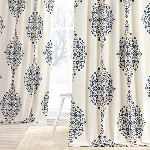 HPD Half Price Drapes PRTW-D41-108 Printed Cotton Twill Curtain (1 Panel), 50 X 108, Blue