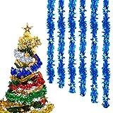 Anyingkai 6pcs Guirnalda de Oropel de Navidad,Espumillón de Navidad, Oropel de Navidad Decoración Colgante,Oropel Navidad,Oropel Arbol Navidad,Guirnaldas Colgantes Navidad (Azul)