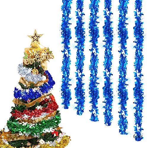 Anyingkai 6pcs Ghirlanda di Orpelli Natalizi,Ghirlanda di Natale Tinsel,Orpelli Festa,Ghirlanda di Orpelli Natalizi,Orpelli Natale,Orpelli,Ghirlanda Metallica (Blu)